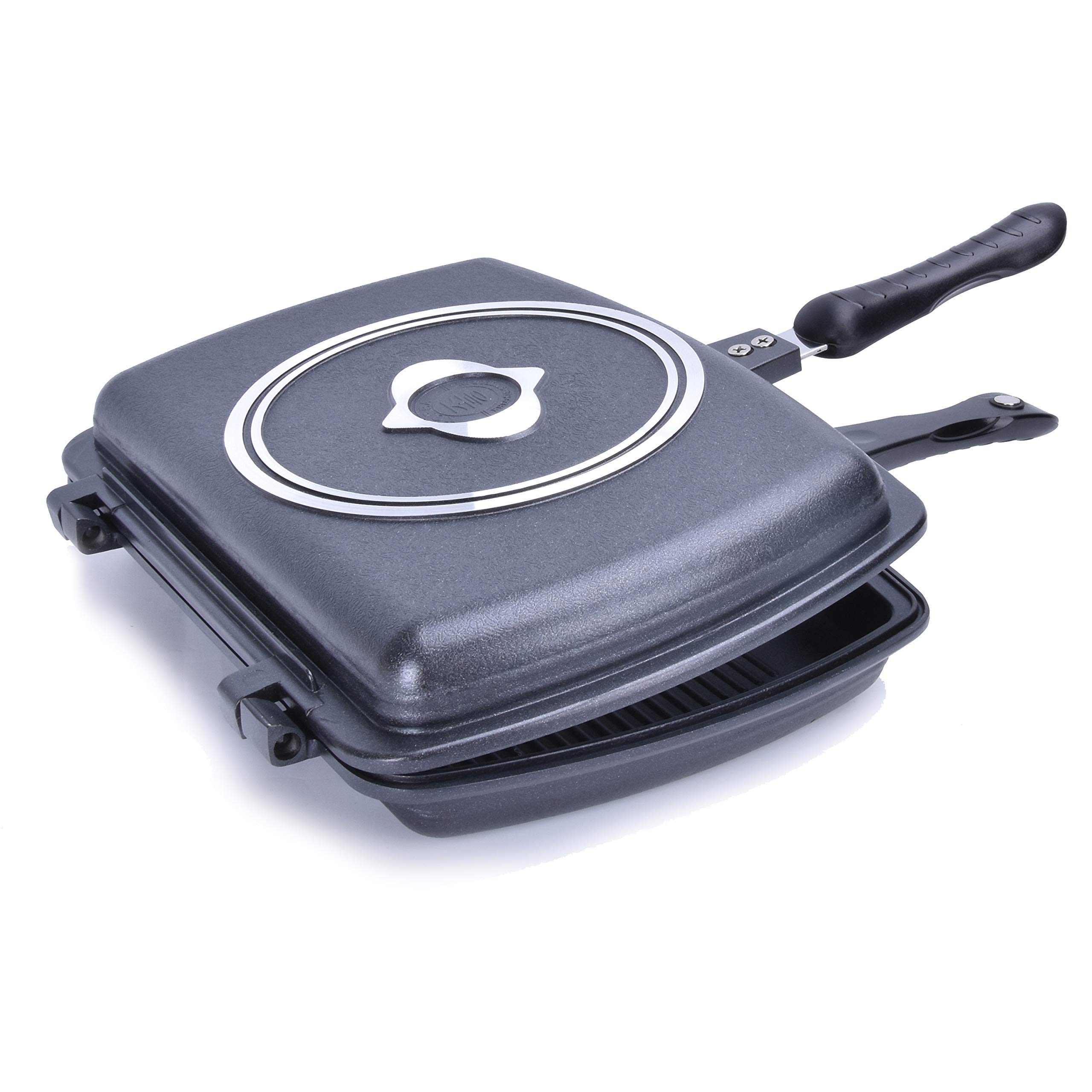 YONATA Double Sided Portable BBQ Grill Pan,Separate Detachable Double Pan Nonstick Barbecue Plate For Indoor and Outdoor Cooked Chicken,Fish,Egg by YONATA (Image #1)