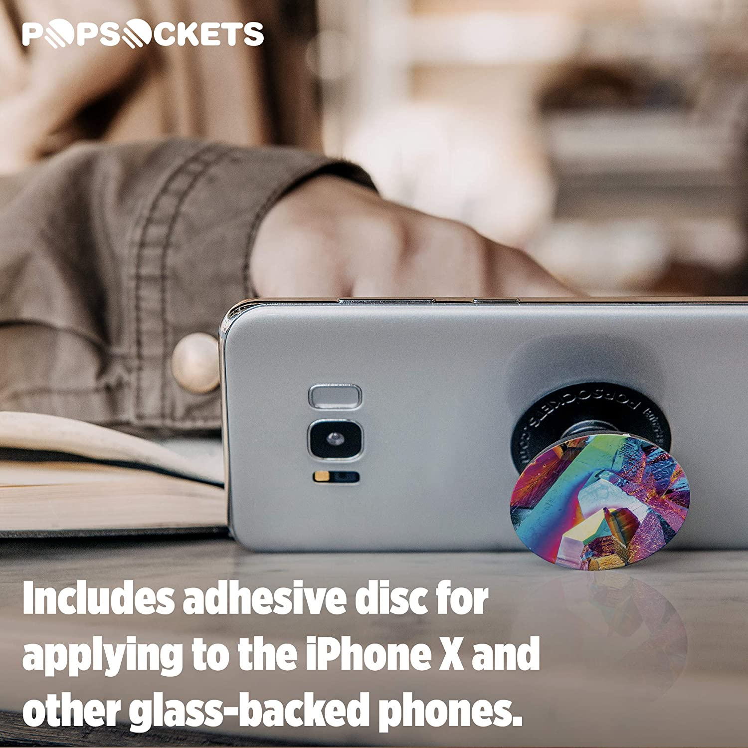 Collapsible Grip /& Stand for Phones and Tablets Malachite Gloss PopSockets