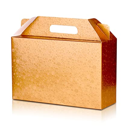 Giovanni Grazielli Decorative Gold Craft Cardboard Gift Boxes Set Of 6 With Lids And Handle 11x7x4 Inches For Different Occasions Like Holiday
