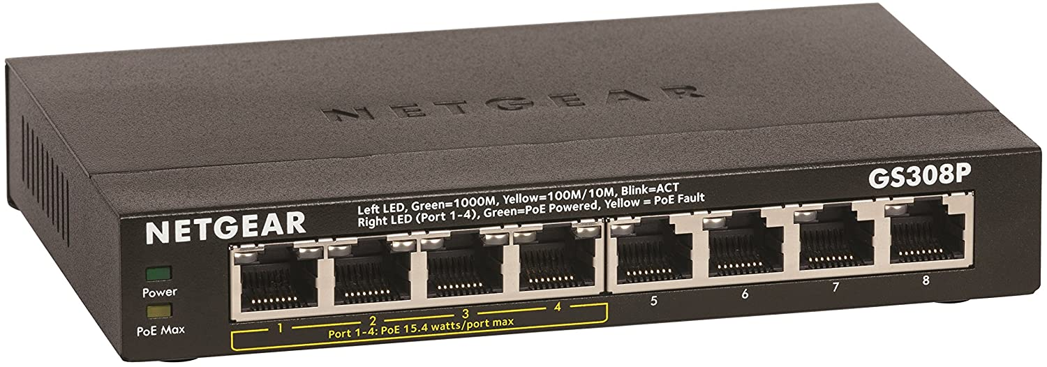 NETGEAR 8-Port Gigabit Ethernet Unmanaged Switch, 4xPoE (GS308P)
