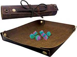 SM PRO Dice Tray - Full Grain Premium Leather Dice Mat for DND and Other RPG or Dice Rolling Games - Folding Organizer Tray for Jewelry or Keys -Portable and Collapsible for Convenience (Chocolate)