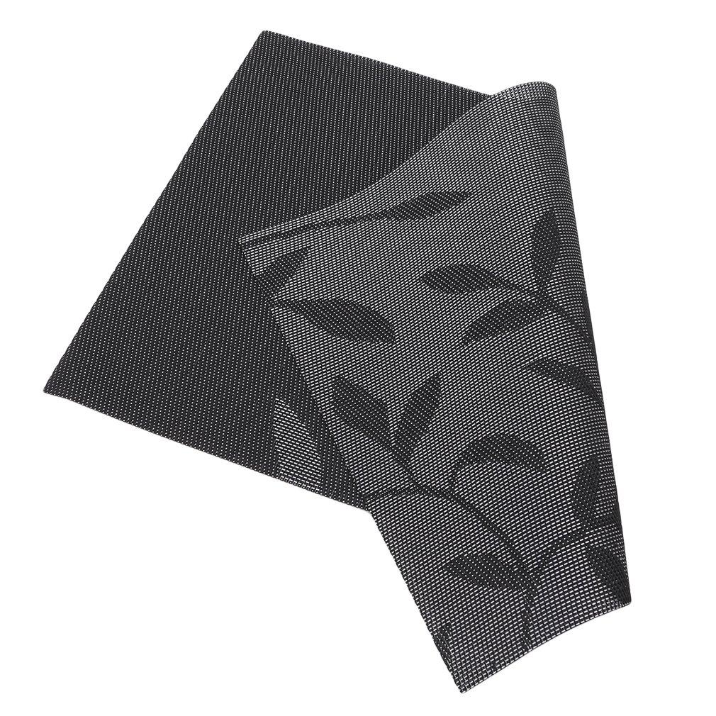Antideslizantes manteles Individuales de Mesa de Comedor Manteles Individuales de PVC con dise/ño de Flores As Description PVC Resistentes al Calor Negro