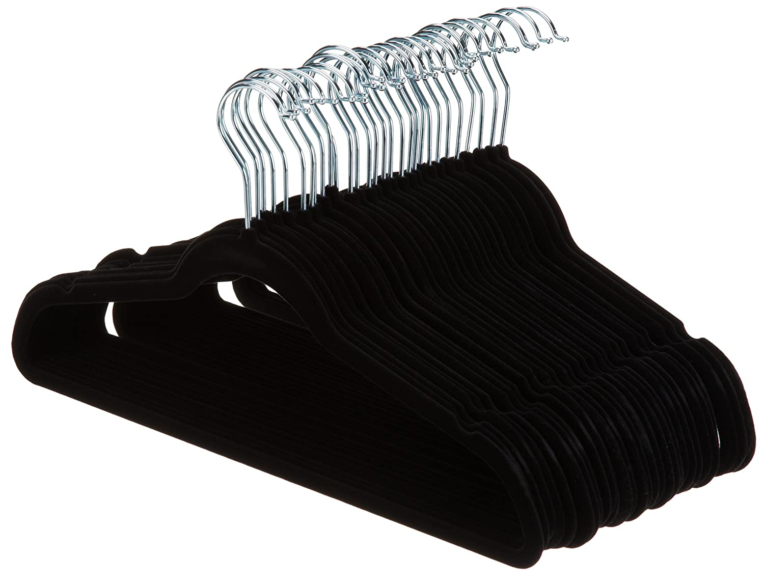 AmazonBasics Velvet Suit Hangers - 30-Pack, Black
