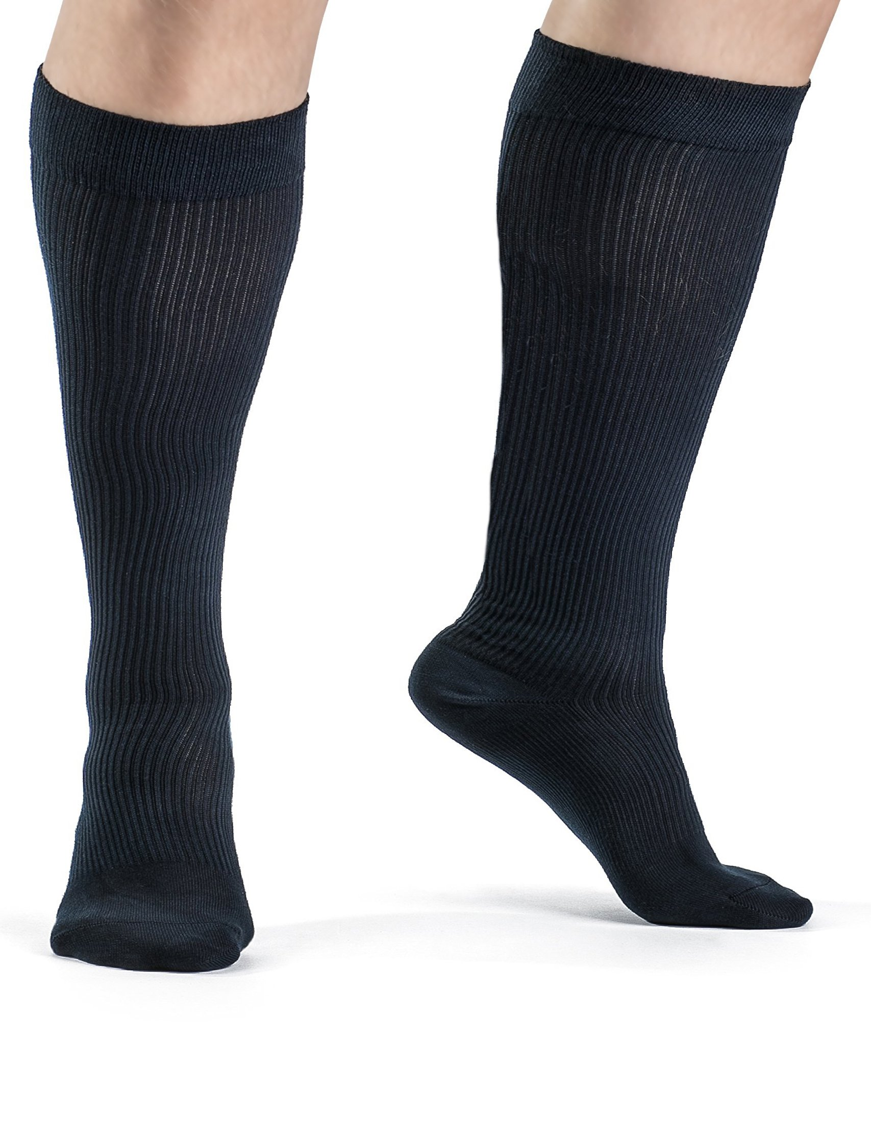 Medical Grade Plus Size Wide Calf and Ankle Gradient Compression 20-30 mmHg Unisex Organic Cotton Compression Socks,Premium Hosiery for Maternity, Travel, Athletes, Sports, Diabetics. (XL) by Terramed