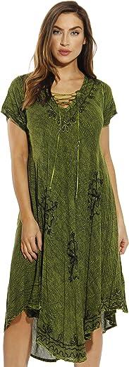 ريفيرا فستان مطرز بأكمام قصيرة للغسيل بالحمض