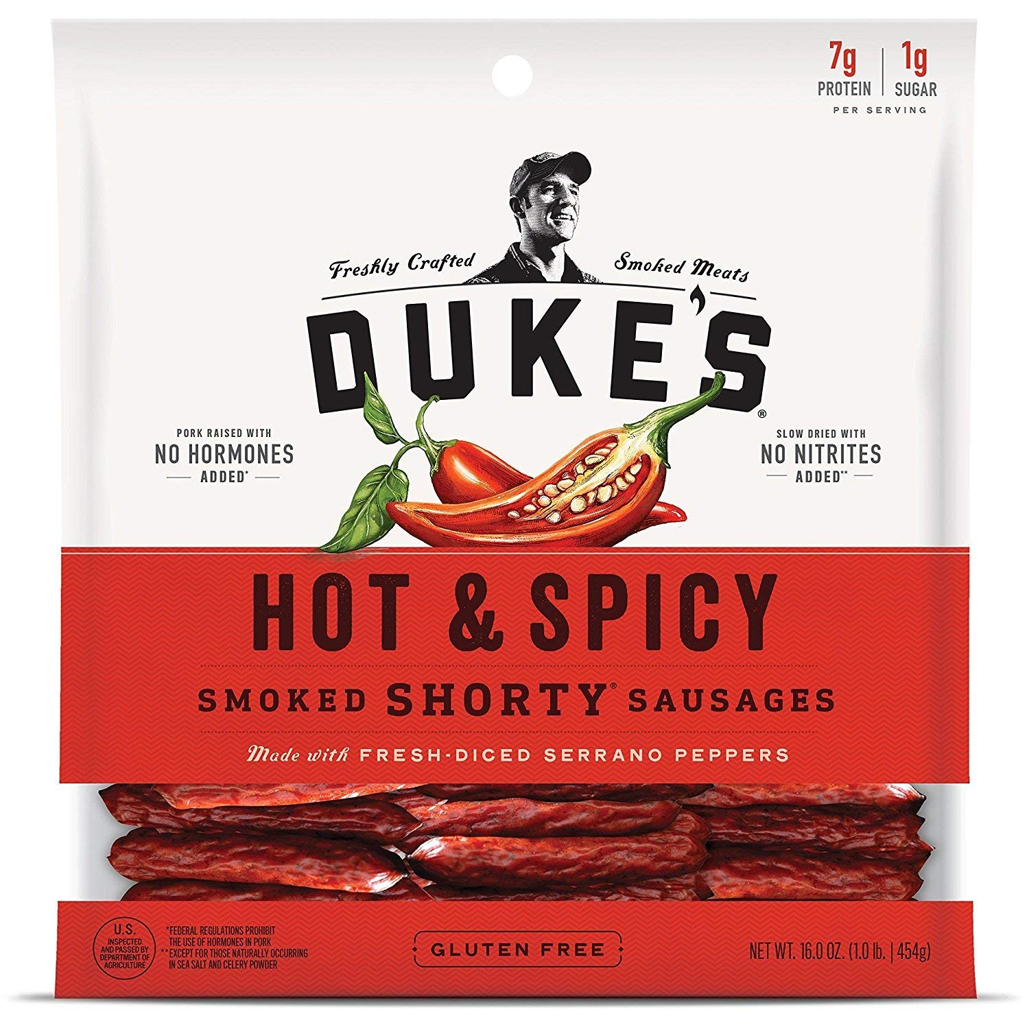 DUKE'S Hot & Spicy ''Shorty'' Smoked Sausages, 16.0 Ounce (Pack of 2)
