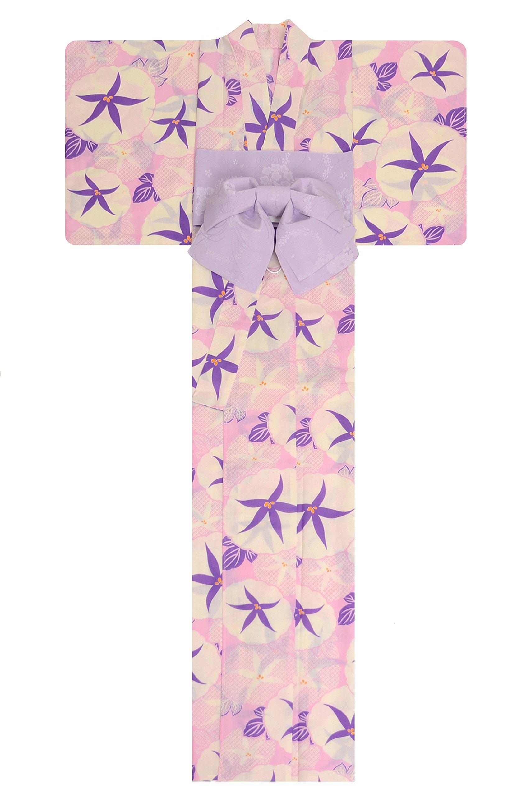 KimonoMode24 Women's Japanese Yukata And Easy Wearing Purple Obi Set/ Flower Pattern Free Size Purple