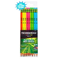 Ticonderoga Neon Pencils, #2 Pre-Sharpened Wood Pencils with Erasers, 18-Count,...