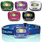 BLITZU Head Flashlight Headlamp, 165 Lumen Headlight with Bright White Cree Led + Red Light for Kids, Men, Women, Runners. Batteries Included for Running, Camping, Waterproof Adjustable Lamp Headband