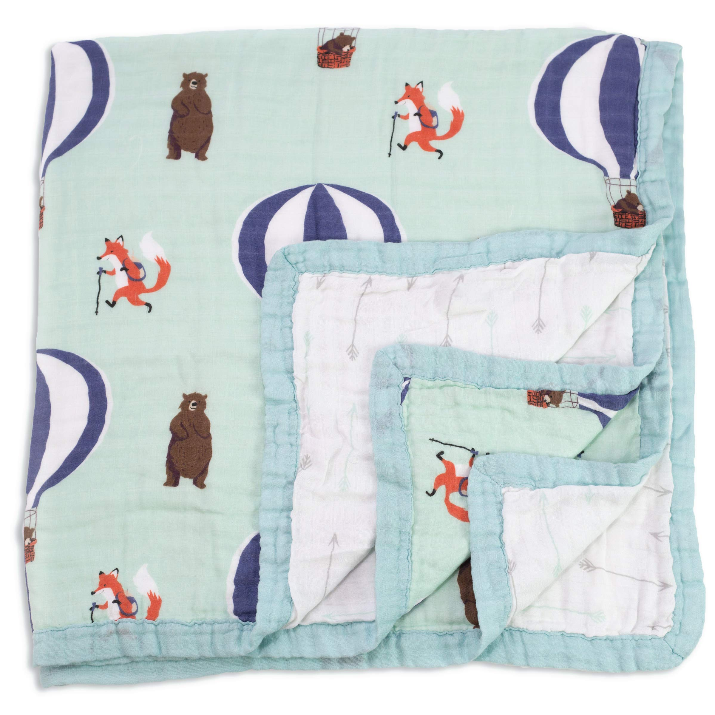 Baby & Toddler Blanket - Boy & Girl. Muslin Cotton Bamboo. Large, Soft & Warm, Breathable & Lightweight. Cozy Dream & Snuggle Blanket. Preschool Nap Security Crib & Bed Blanket (Fox & Bear)