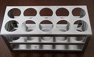 Stainless Steel Test Tube Rack, 10 Holes, 30 Mm (1 1/8 Inch), 50 Ml
