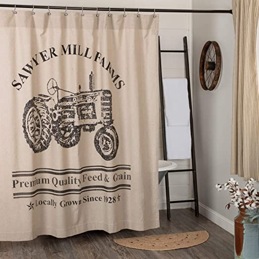 VHC Farmhouse Shower Curtain Sawyer Mill Charcoal Bath Rod Pocket Black