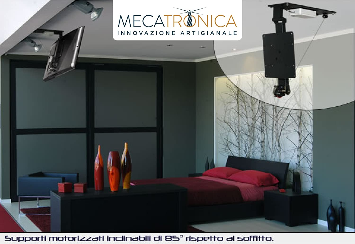 Mecatronica Book 75 Support Tv Plafond Motoris Avec  # Meuble Tv Telescopique Motorise