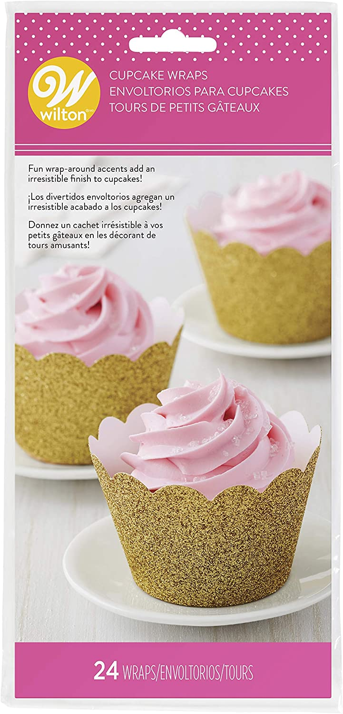 Non-Food Items 415-4452 Cupcake-Wrap Goldfarbener Glitzer Einheitsgr/ö/ße 24 St/ück