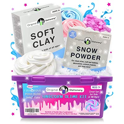 Original Stationery Bundle Includes: Unicorn Slime Kit with Soft Clay for Slime & Instant Snow Powder, Slime Stuff for Girls Making Slime: Toys & Games