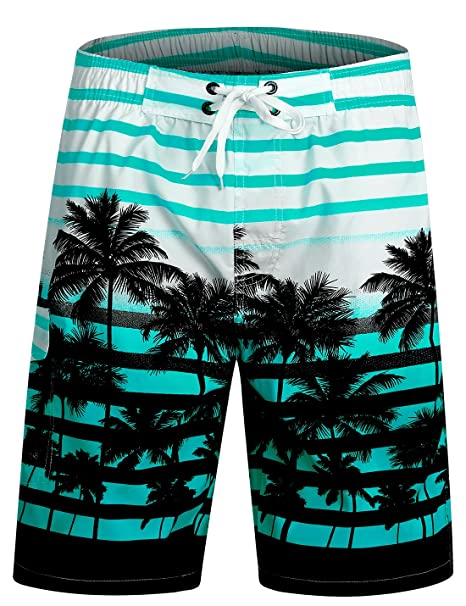 f453f42896 APTRO Men's Swim Shorts Palm Tree Trunks Beach Board Shorts #1525 Aqua S