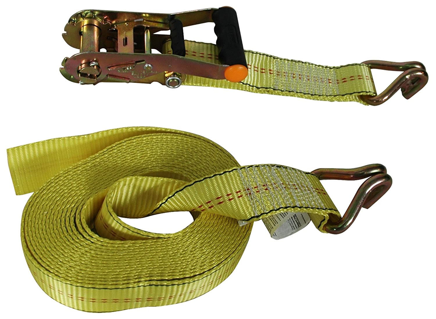 Highland 1 piece 1152500 25 Yellow Super Duty Ratchet Tie Down with Double J-Hooks