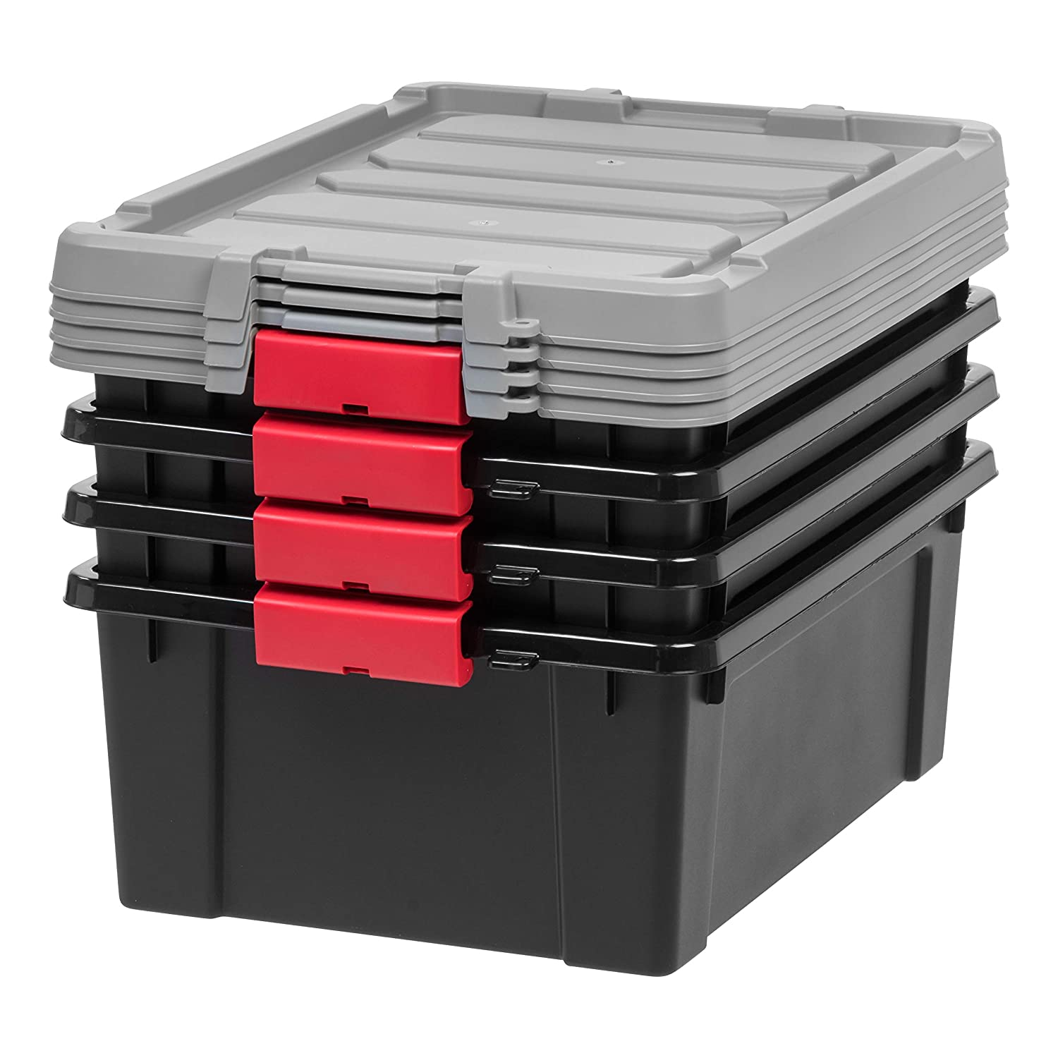 IRIS USA, Inc. SIA-10 Store-It-All Tote, 4 Pack, 11.75, Black/Red Buckle