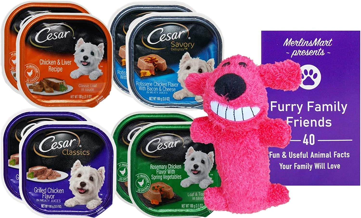 Cesar Dog Food 4 Flavor 8 Can Variety (2) Each: Chicken Liver, Rotisserie Chicken Bacon Cheese, Grilled Chicken, Rosemary Chicken Vegetable (3.5 Ounces) - Plus Squeak Toy and Fun Facts Booklet Bundle