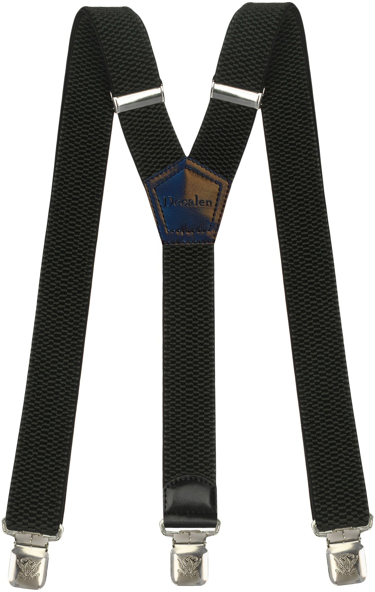 Mens Suspenders Wide Adjustable and Elastic Braces Y Shape with Very Strong Clips - Heavy Duty (Dark Green)