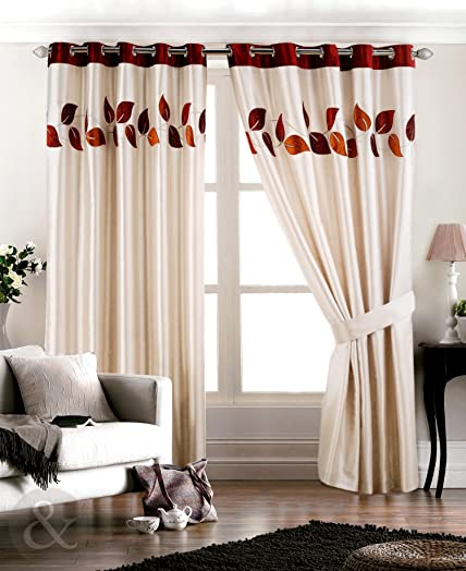 LUXURY FAUX SILK CURTAINS Ready Made Fully Lined Ring Top Curtain Spice (  Wine Red Orange Part 91