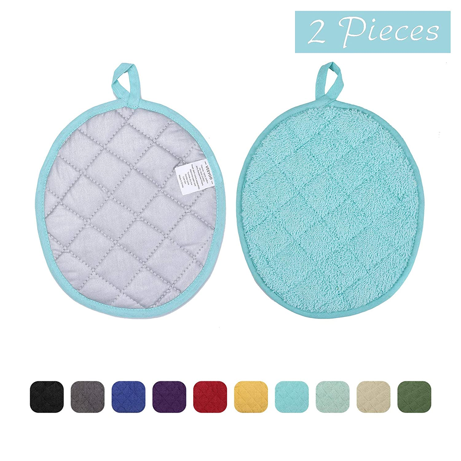 VEEYOO 100% Cotton Pot Holders Set, 9.5x7.5 Inches Heat Resistant Hot Pads, Everyday Quality Kitchen Coaster, 2 PCS Oval Pot Holders, Aqua Blue