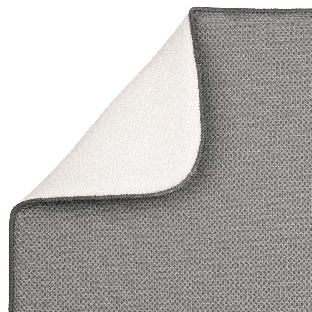InterDesign iDry Tappetino lavello grigio peltro//avorio Piccolo e spesso tappetino cucina in poliestere e microfibra per asciugatura stoviglie