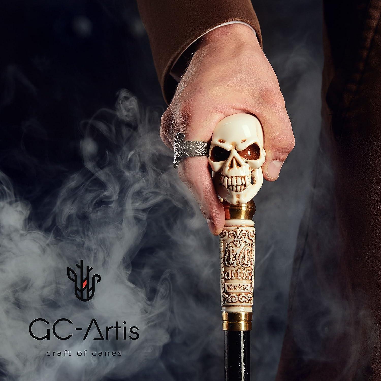"GC-Artis Halloween Steampunk Skull Walking Stick Cane Gothic Style Knob Handle Black Wooden Shaft Folding 36/"""