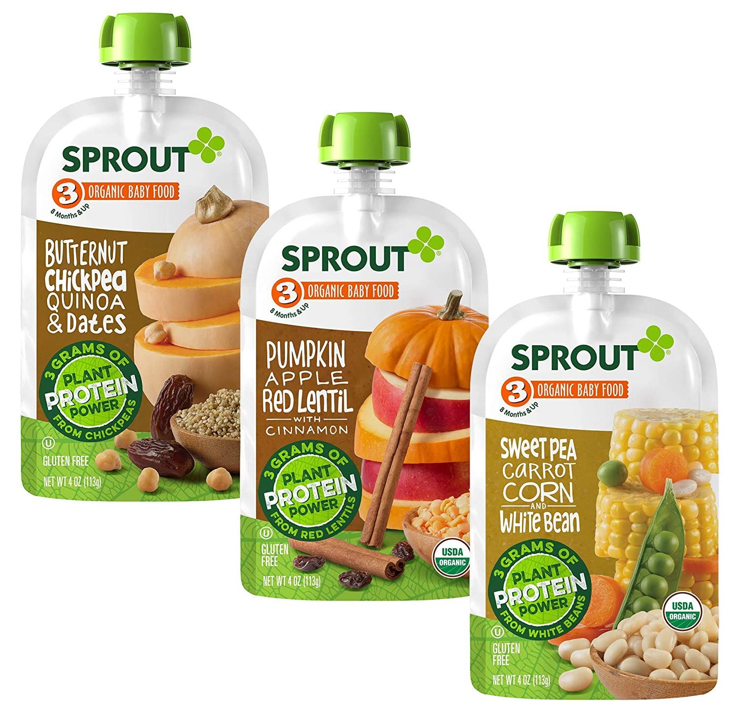 Sprout Organic Baby Food Pouches Stage 3 Plant Powered Protein, Butternut Chickpea Quinoa Date, Pumpkin Apple Lentil, and Sweet Pea Corn Carrot White Bean Variety Pack, 4 Ounce Pouches (Pack of 18)
