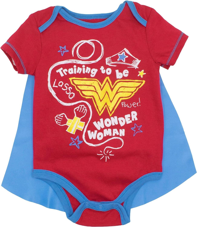Warner Bros. DC Comics Baby Girls' Bodysuit and Cape - Wonder Woman and Harley Quinn