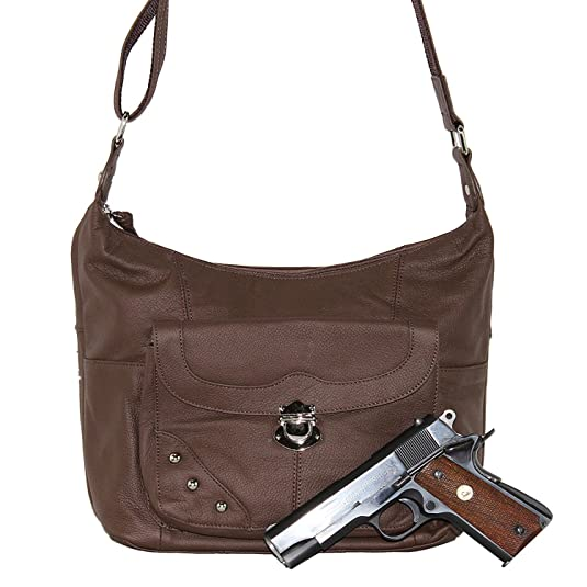 Goson Leather Concealed Gun Carrying Handbag Purse Buckled Front Pocket with Silver Studs
