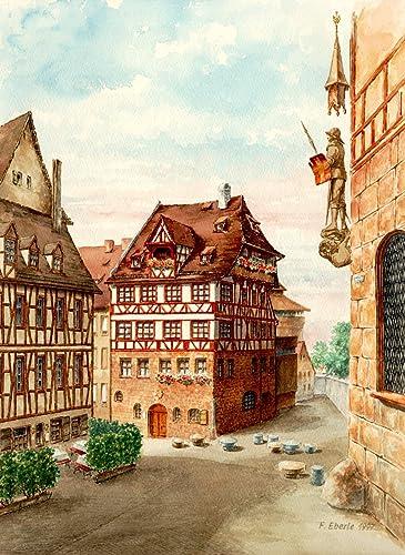 """Kunstdruck nach Aquarell: """"Nürnberg, Albrecht-Dürer-Haus ..."""