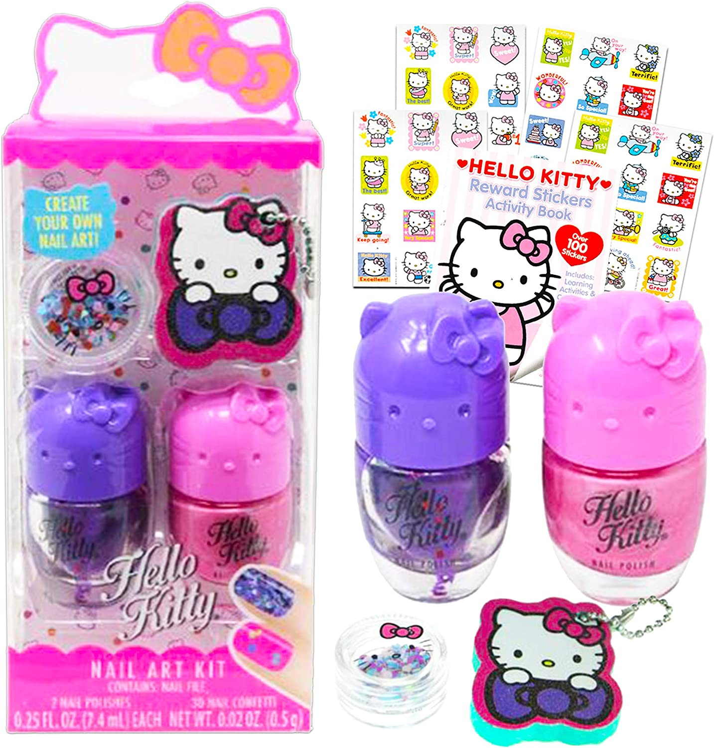 Hello Kitty Theme Gift Set Party Favor - 4 Pc Hello Kitty Nail Accessory Gift Set for Girls and Women with Hello Kitty Stickers (Hello Kitty Themed Things)