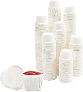 White Paper Souffle Cups, 1 oz Portions for Condiments, Samples (600 Pack)
