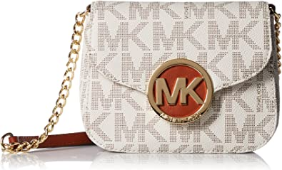 Michael Kors Fulton Vanilla PVC MK Signature Small Crossbody Bag 32T4GFTC1B NEW