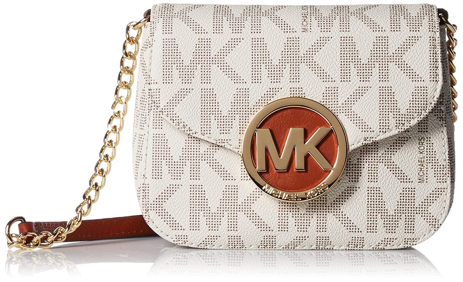 c0206ddb24419 Michael Kors Fulton Vanilla PVC MK Signature Small Crossbody Bag 32T4GFTC1B  NEW  Handbags  Amazon.com