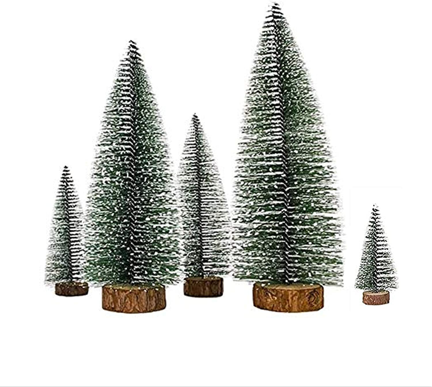 Fbaby 5 PCS Desktop Miniature Pine Tree Artificial Mini Christmas Sisal Snow Frost Trees with Wooden Bases Plastic Winter Snow Ornaments Tabletop Trees for Christmas Party Home Decor
