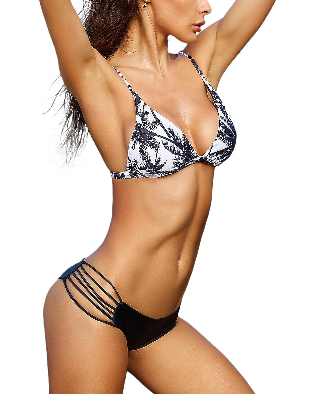4ed81e8b2b Amazon.com: MOSHENGQI Printing Sexy Cheeky Bikini Set 2 Pieces Swimsuit  Bathing Suit Women: Clothing