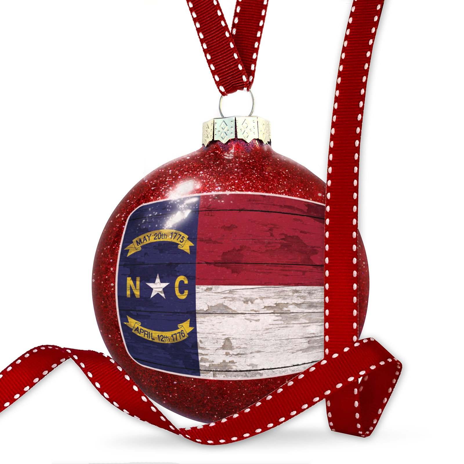 Christmas Decoration Flag on Wood North Carolina region: America (USA) Ornament