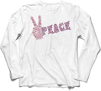 lepni.me Camiseta de Manga Larga para Hombre Símbolo de la Paz, Festival de la Hippie de los años 60 y 70, Signo de la Paz