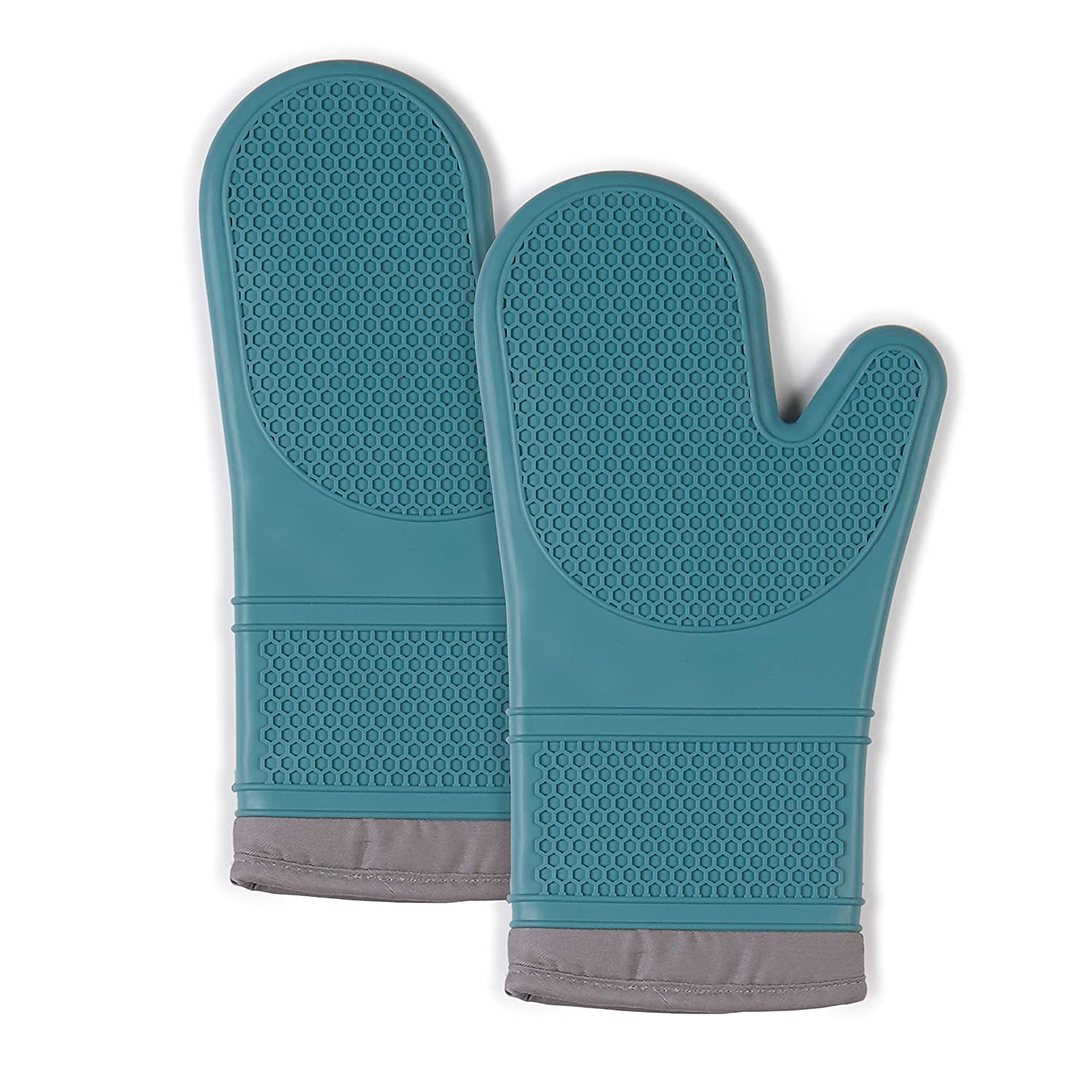"""Town & Country Living Silicone Oven Mitts 7.5""""x13"""" Mitt, Heat Resistant Machine Washable Silicone/Cotton/Polyester 2-Pack, Textured Teal"""