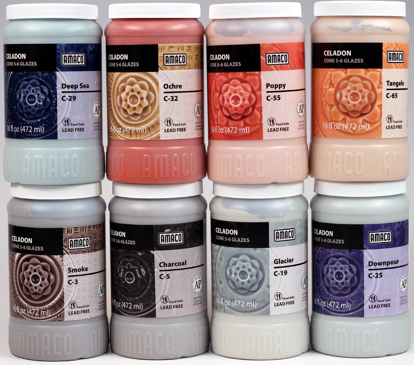 Amaco Celadon Hi Fire (Cone5-6) Glazes For Ceramics -Set of All 8 New 2018 Colors in 16 Ounce Pint Jars