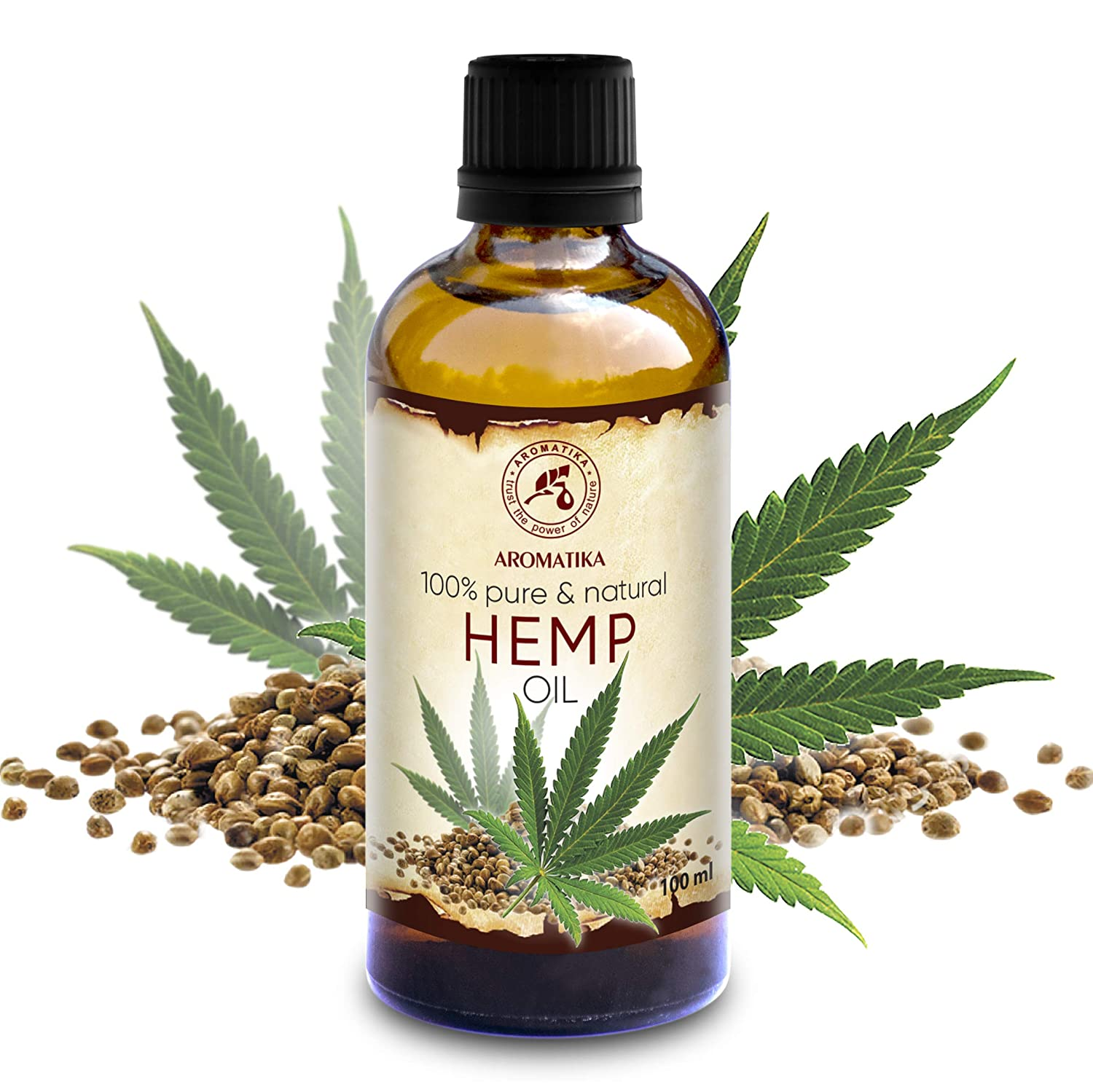 Hemp Oil 3.4oz - Cannabis Sativa Seed Oil - 100% Pure & Natural Hemp Seed Oil - Benefits for Skin - Hair - Face - Body - Great for Beauty - Relax - Massage - Glass Bottle