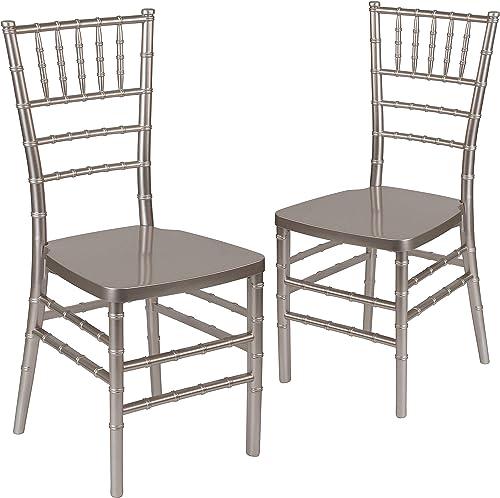 Flash Furniture 2 Pk. HERCULES PREMIUM Series Pewter Resin Stacking Chiavari Chair