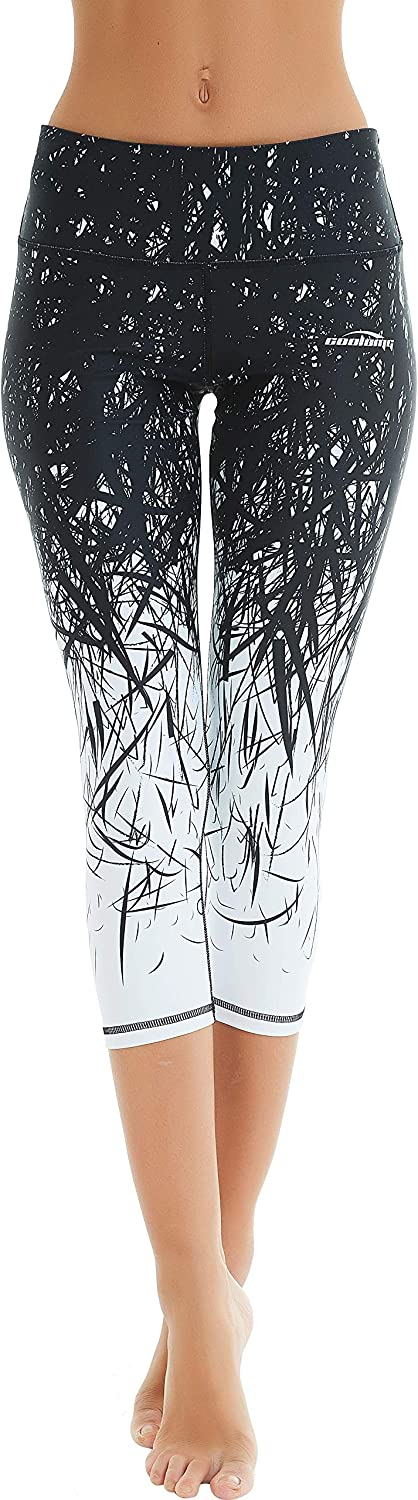 COOLOMG Women's Yoga Running Pants Printed Compression Leggings Workout Tights Hidden Pocket