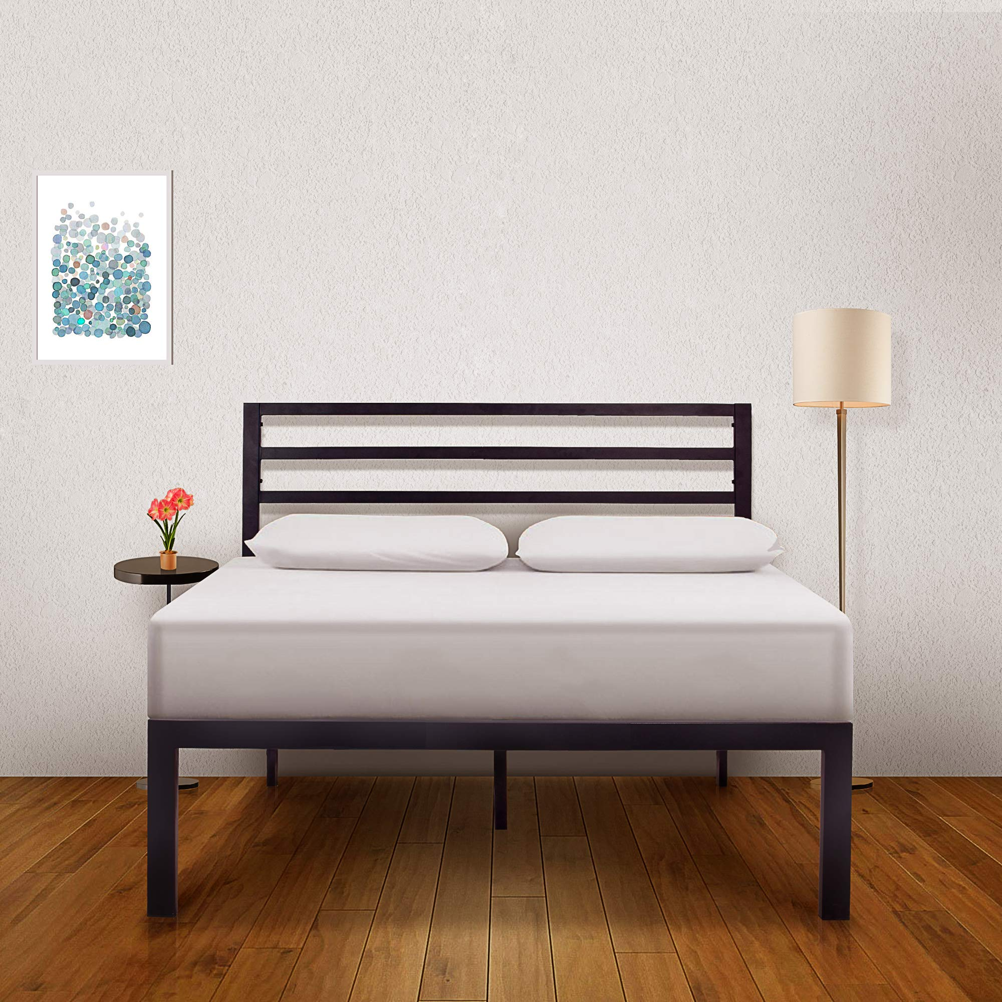 Ambee21 - Bed Frame with Headboard: (14 inch) Queen Bed Frame - Black Heavy Duty Metal Bed Frame, Sturdy Mattress Support, Under Bed Storage, Steel Slat Support, Easy DIY Setup, No Box Spring Needed