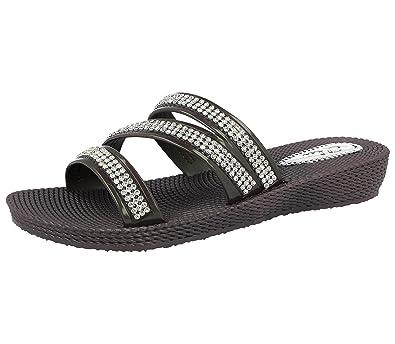 a4adcfc22d74 Ladies ELLA Grace Diamante Peep Toe Slip On Low Wedge Jelly Mules Flip Flop  Slider Sandals