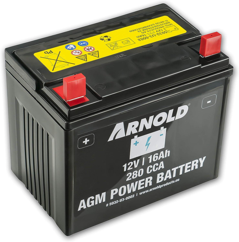 ARNOLD AZ100 - Batería AGM 12 V 16 AH 280 CCA para cortacésped