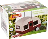 Bird House Caravan Wood White Red Can be used as Bird Feeder