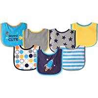 Luvable Friends Unisex Baby Cotton Terry Drooler Bibs with PEVA Back